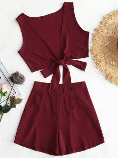 Tied Front Crop Top And Shorts Set - Wine Red Xl