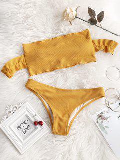 Off Shoulder Ruffles Ribbed Bikini - Ginger M