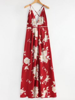 Robe Longue Entrecroisée Florale à Fente - Rouge L