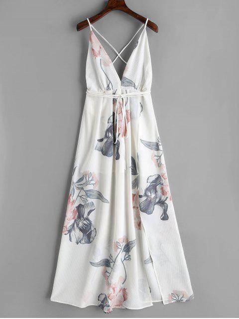 unique Floral Criss Cross Back Slit Maxi Dress - WHITE M Mobile