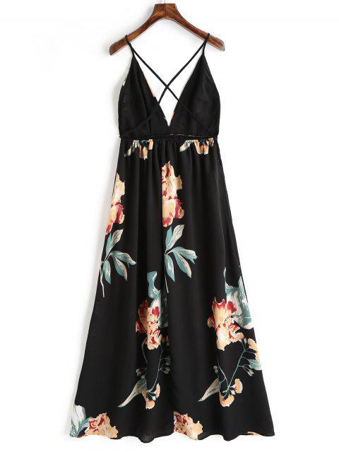 Robe Longue Florale à Décolleté Plogeant à Dos Nu Croisé - Noir M Mobile