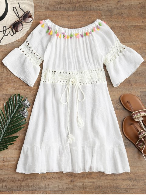 hot Crochet Panel Tassel Cover Up Dress - OFF-WHITE ONE SIZE Mobile