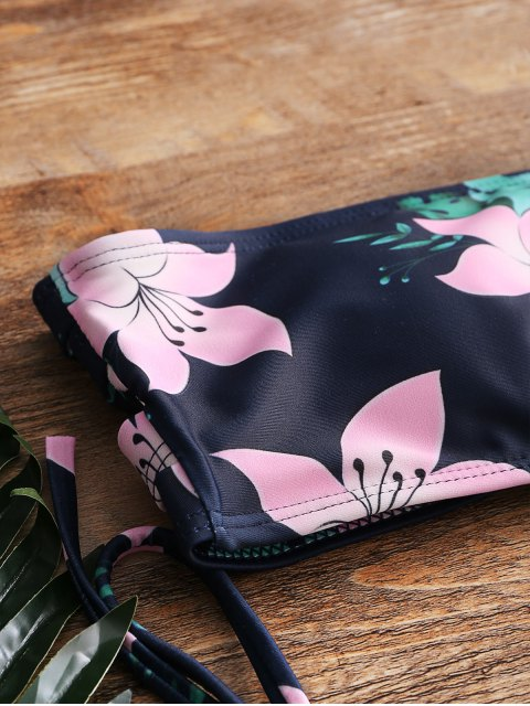 Bandeau Floral String Bikini Set - Negro S Mobile