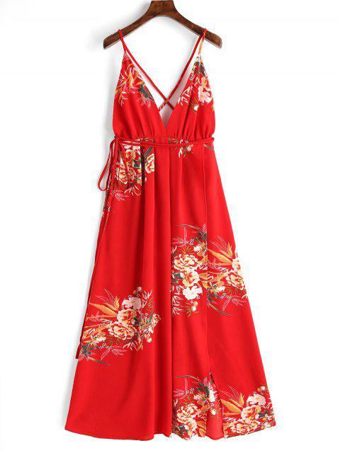 Robe Longue Florale à Dos Croisé - Rouge L Mobile