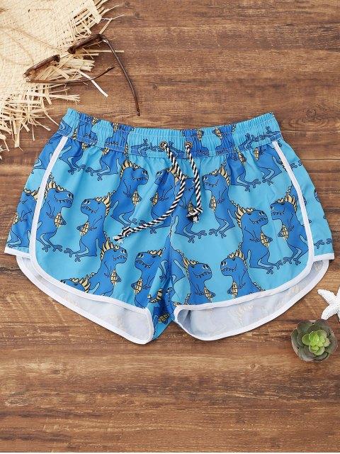 Pantalones cortos de playa de impresión de animales - Azul Claro M Mobile