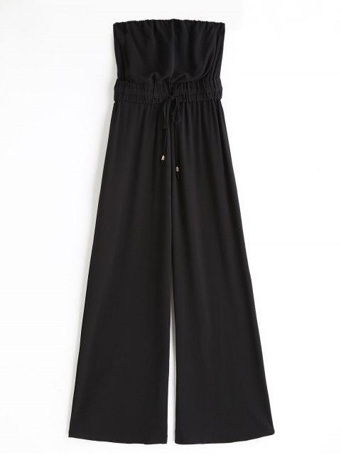 Jumpsuit de pierna ancha con tubo con cordón - Negro S Mobile