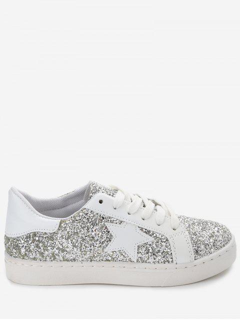 lady Star Patch Sequined Sneakers - SILVER 35 Mobile