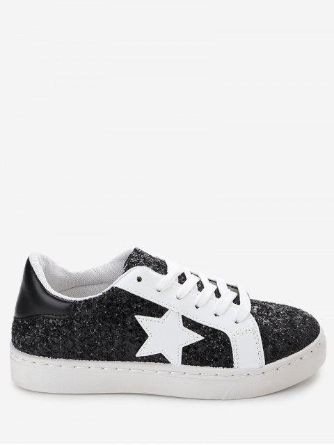 Star Patch Pailletten Sneakers - Schwarz 35 Mobile