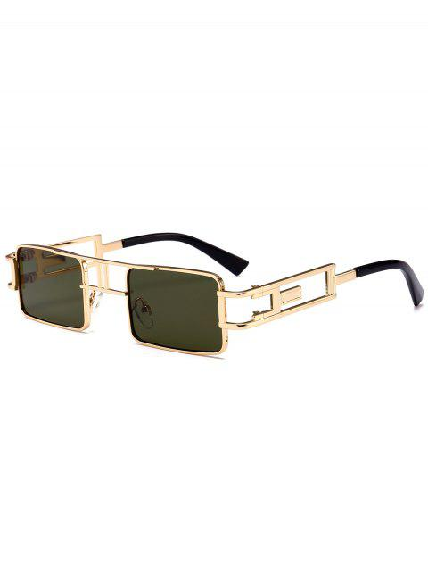 fancy Hollow Out Carver Frame Square Sunglasses - BLACKISH GREEN  Mobile