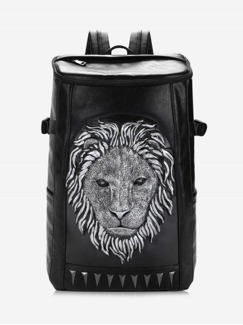 Sac À Dos En Cuir Faux Lion Head - SILVER  Mobile