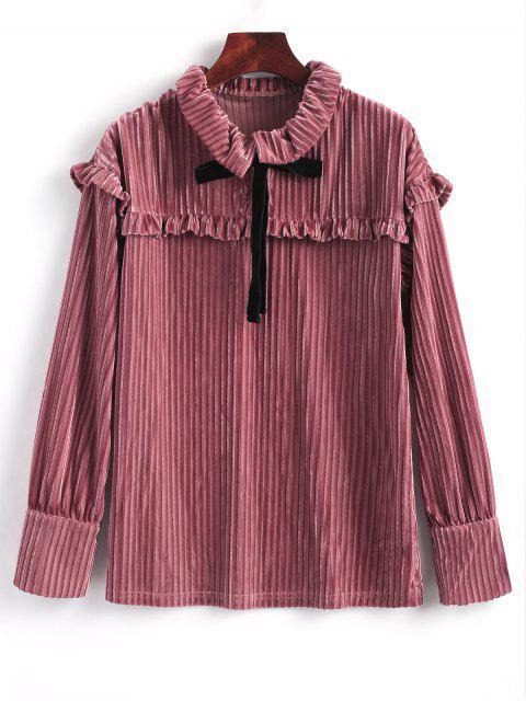 Blusa de terciopelo con manga larga y volantes - rosáceo Marrón S Mobile
