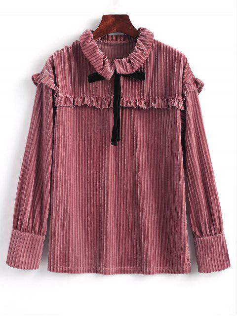 Blusa de terciopelo con manga larga y volantes - rosáceo Marrón L Mobile