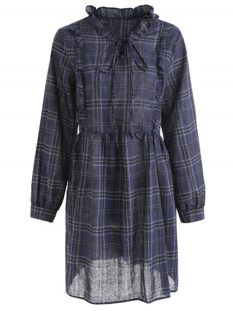 shops Plaid Ruffles Plus Size Dress - BLUE 2XL Mobile
