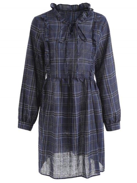 Plaid Rüschen Plus Size Kleid - Blau 4XL Mobile