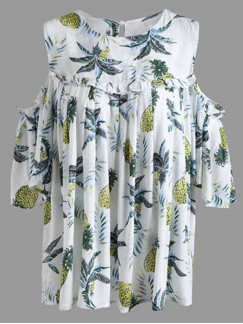 online Pineapple Cold Shoulder Plus Size Blouse - IVORY COLOR 3XL Mobile
