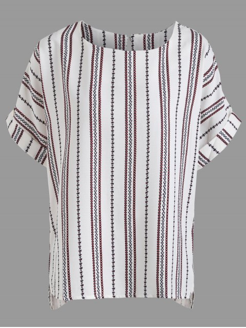 shop Curled Sleeve High Low Plus Size Tribe Blouse - WHITE 4XL Mobile