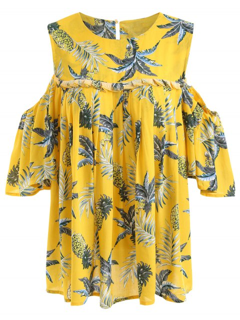 womens Pineapple Cold Shoulder Plus Size Blouse - YELLOW 2XL Mobile