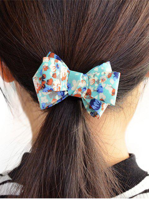 Élastique à Cheveux Orné de Nœud Motif Floral - Bleu  Mobile