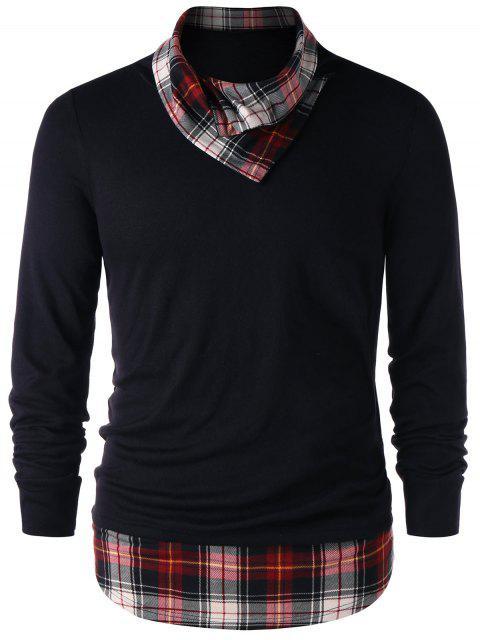 格紋飾邊高領上衣 - 黑色 2XL Mobile