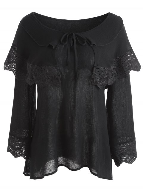 latest Crinkly Overlay Lacework Insert Plus Size Blouse - BLACK 3XL Mobile