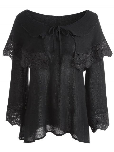 Blusa con aplicaciones de encaje y encaje - Negro 4XL Mobile