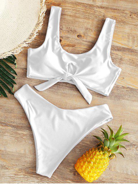 High Rise Bowtie Bikini de pierna alta - Blanco XL Mobile
