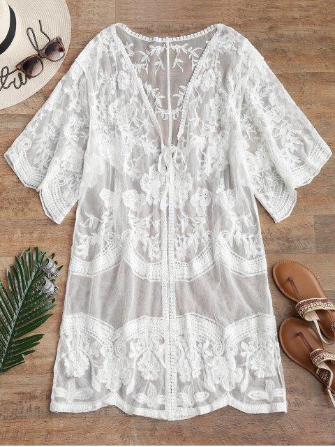 Kimono bordado de malla escarpada - Blanco Talla única Mobile