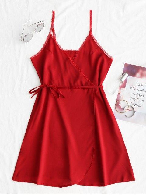 Mini vestido de encaje con panel Surplice Slip - Rojo M Mobile