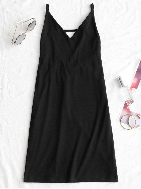 trendy Open Back Mini Club Dress - BLACK L Mobile