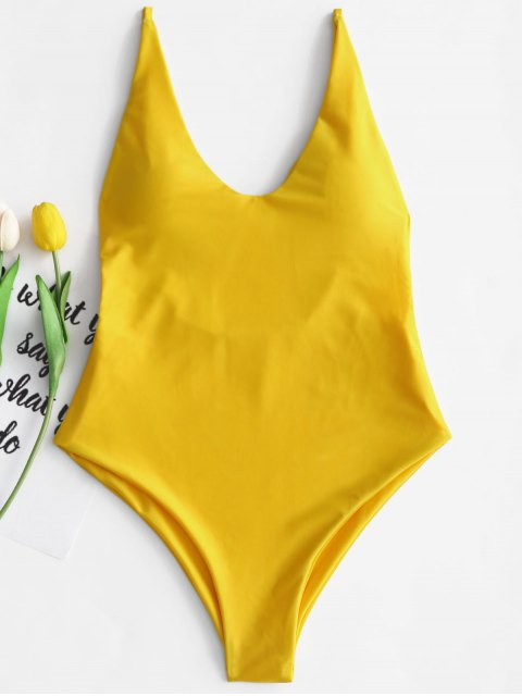 ladies Padded One Piece Swimsuit - YELLOW M Mobile