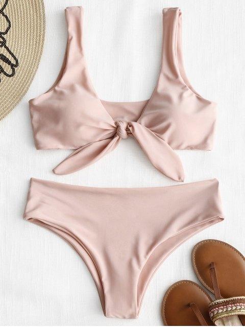 Conjunto de bikini con nudo frontal acolchado - Rosado M Mobile