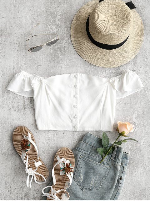 outfits Off The Shoulder Crop Top - WHITE M Mobile