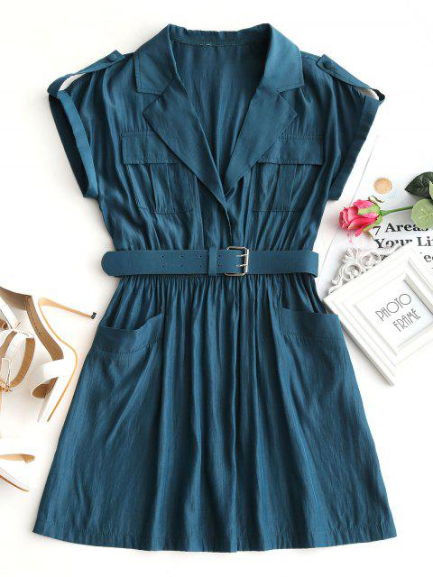 buy Lapel Collar Belted Mini Dress - PEACOCK BLUE L Mobile