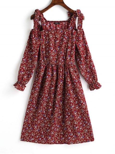 Mini vestido de hombro frío floral pequeño - Dark Red M Mobile
