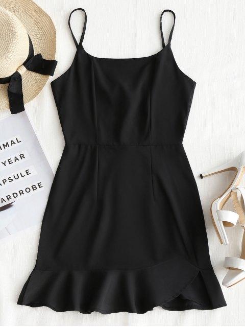 lady Back Zip Ruffle Slip Mini Dress - BLACK L Mobile