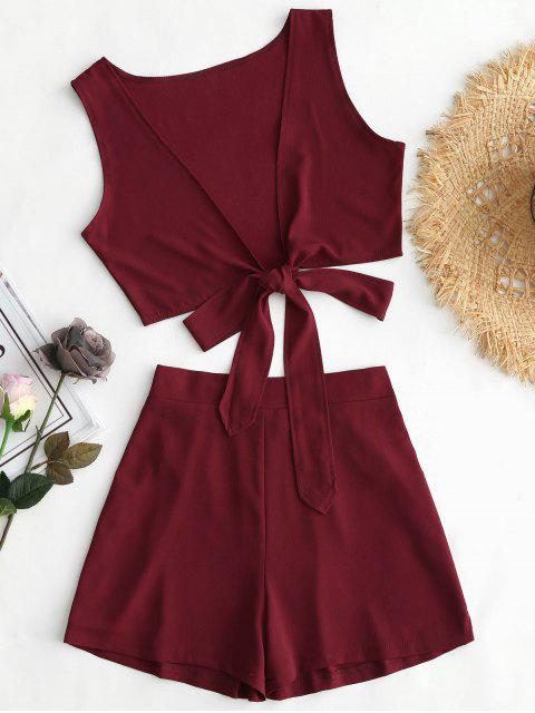fancy Tied Front Crop Top and Shorts Set - WINE RED L Mobile