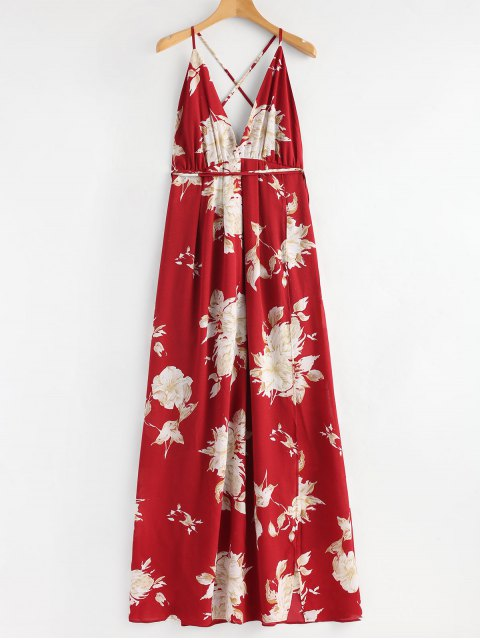 womens Floral Slit Criss Cross Maxi Dress - RED S Mobile