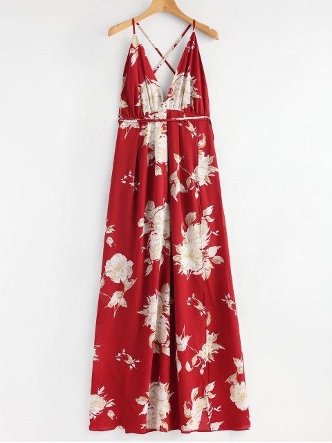Vestido maxi cruzado floral de las hendiduras - Rojo L Mobile