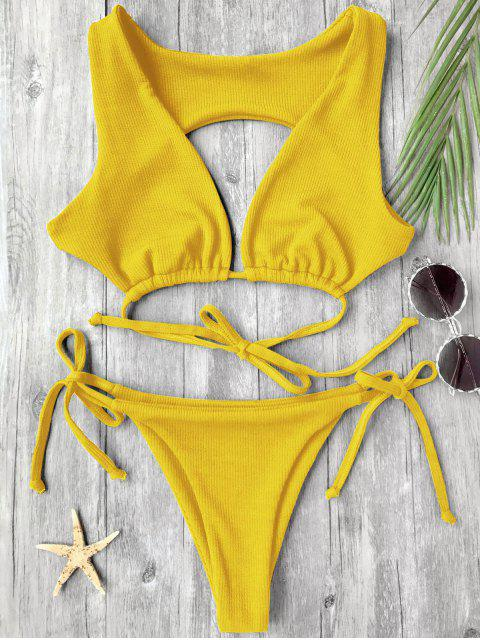 new Textured Plunge Bathing Suit - YELLOW M Mobile