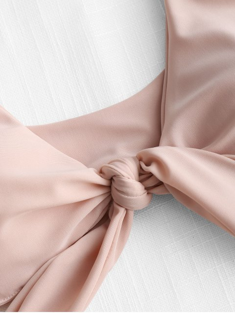 ZAFUL Gepolstertes Bikini-Set mit Bindeband - Rosa L Mobile