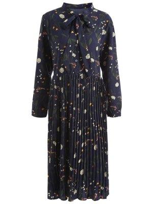Plus Size Bowtie Floral Plissee Kleid