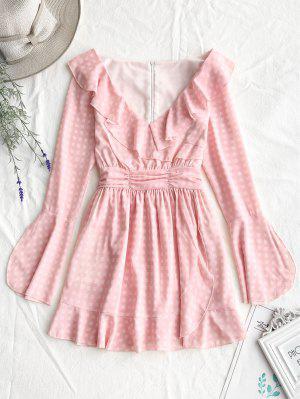 bec35c5bf43b56 Plunging Neck Ruffles Mini Checked Dress - Pink L