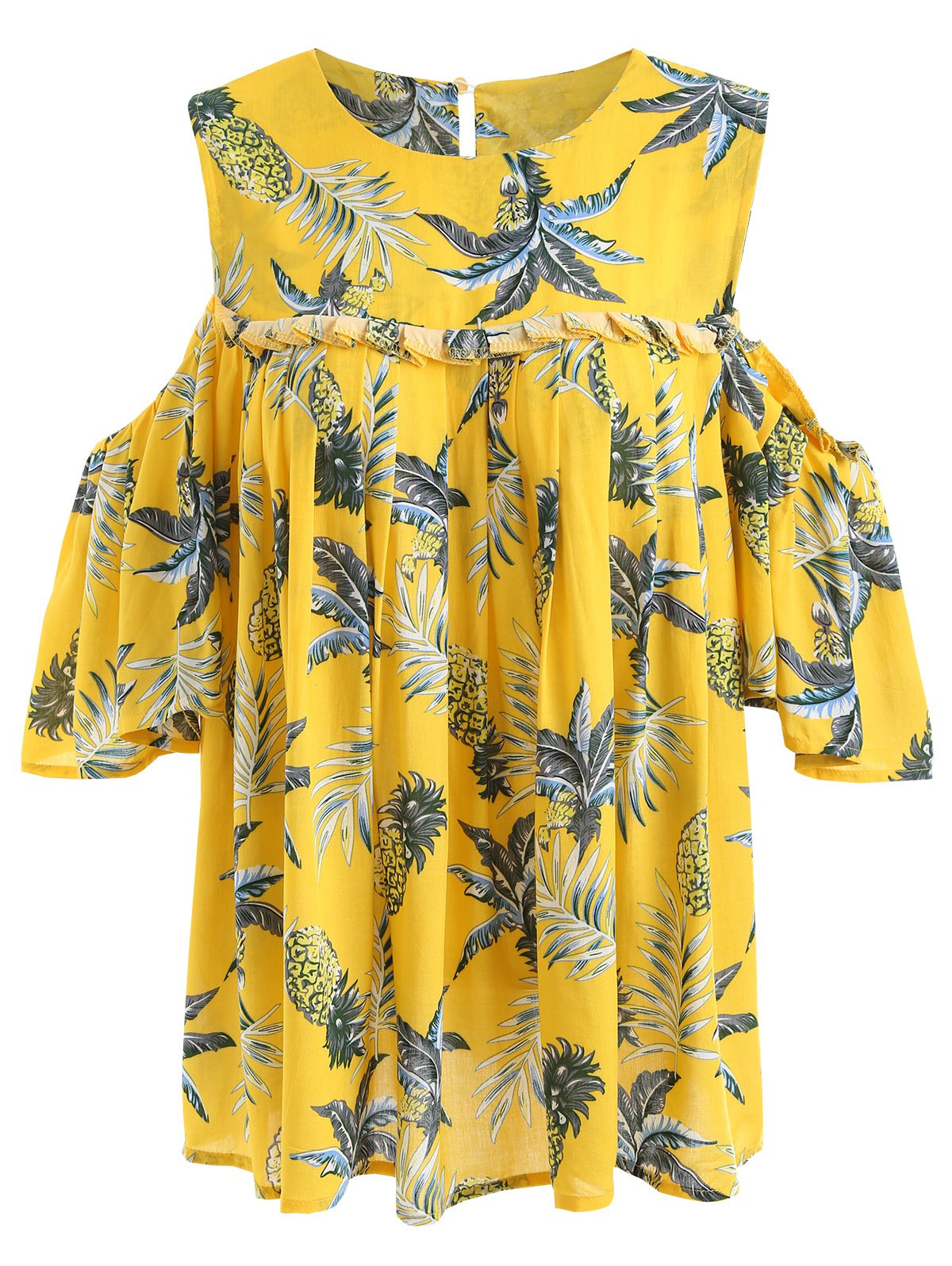 Pineapple Cold Schulter Plus Size Bluse