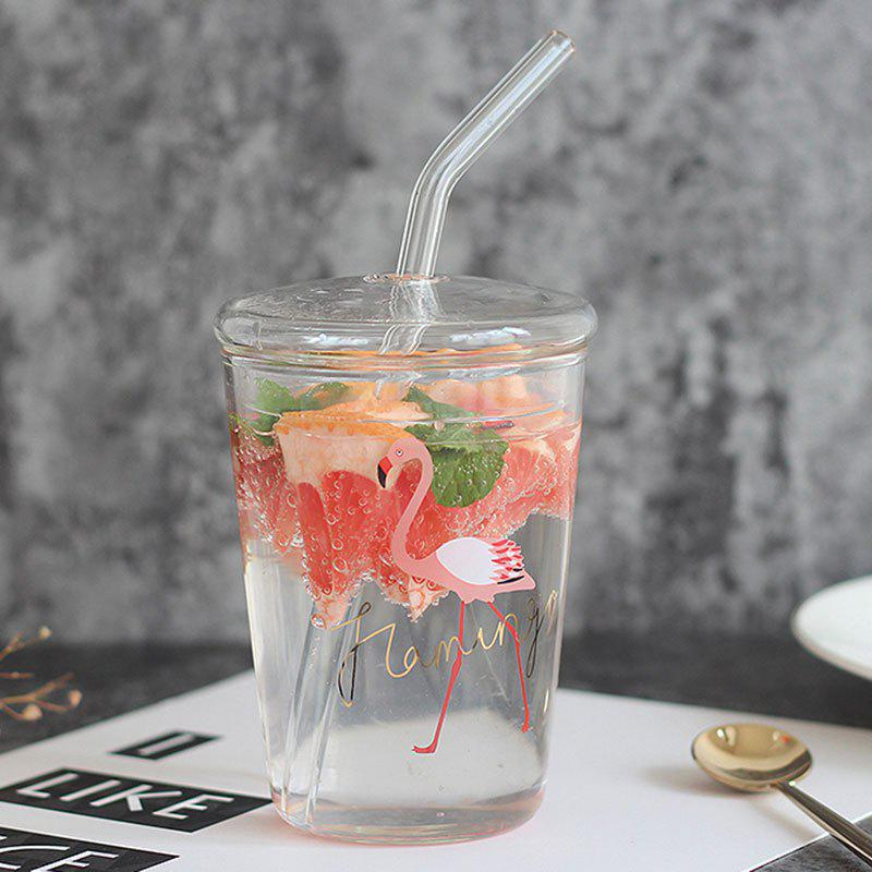 Creative Flamingo Heat Resistant Glass Cup with Lid Straw 252724001