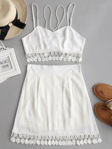 بدلة توب رباط شريط وتنورة مصغرة كروشيه - أبيض L