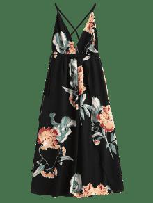 Floral Cruzada La L Negro De Cruzada Raya Vestido Maxi ZwXYHqX4