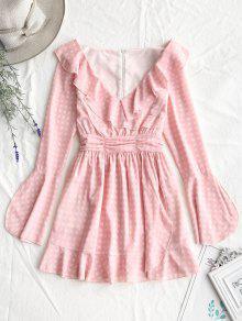 فستان منقوش مصغر كشكش غارق الرقبة - زهري L