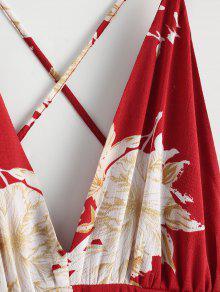 De Floral Hendiduras Las Vestido Rojo Cruzado Maxi S q4zxZ48tHw