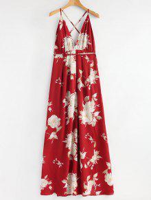 فستان ماكسي متقاطع انقسام طباعة الأزهار - أحمر L