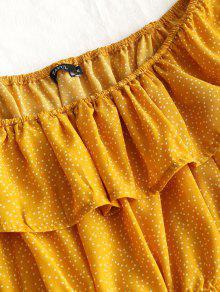 Amarillo Minivestido Volantes Y Con Lunares S U0Ixz0n